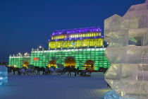 Haerbin Ice and Snow World Festival-All Buildings built of ice-Entrance Gate and Horse Drawn Carriages von Danita Delimont
