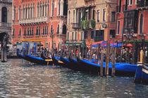 Gondolas in canal by Danita Delimont