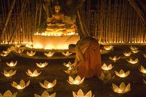 Monks lighting khom loy candles and lanterns for Loi Krathong festival von Danita Delimont