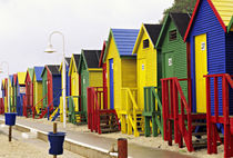 Colorful changing houses line a False Bay beach on the Cape Peninsula by Danita Delimont