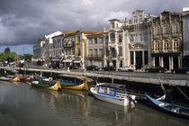 Moliceiros (seaweed collecting boats) moored along the Canal Central by historic buildings by Danita Delimont