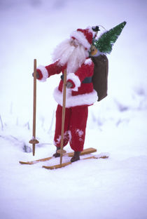 Toy Santa Claus on skis and snow by Danita Delimont