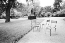 Paris: Luxembourg Gardens Statue of Liberty & Park Chairs by Danita Delimont