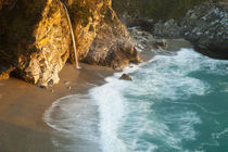 Scenic McWay Falls tumbles into the beach and the Pacific Ocean at Julia Pfeiffer Burns State Park near Big Sur California by Danita Delimont