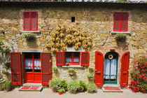 Red Shutters and Harvest Corn on House Lucignano by Danita Delimont