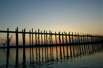Burma (Myanmar) Silhouette of U Bien's Bridge on Lake Taungthaman at sunset by Danita Delimont