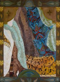 Composition with scarves-oil on canvass24x18 by Antoaneta Hillman