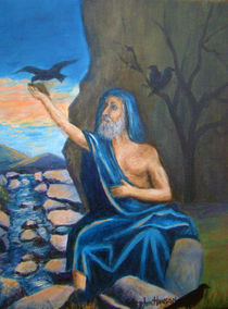 Biblical Scene of Elijah Fed by the Ravens by Stephen hanson