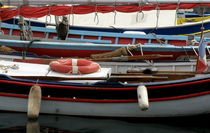 Colorful Wooden Boats by Lainie Wrightson