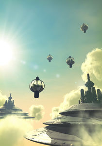Steampunk flying city von Luca Oleastri