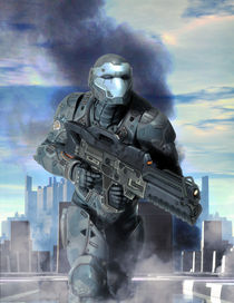 Futuristic-soldier-armor-at-war