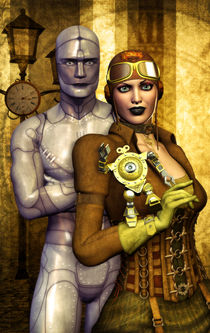 Steampunk girl and robot by Luca Oleastri