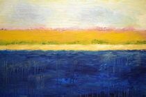 Abstract Dunes with Blue and Gold by Michelle Calkins
