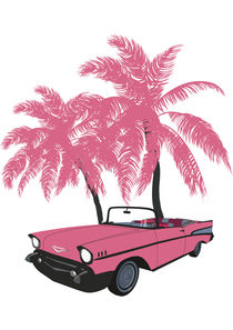 Car with pink palms von Mikhail Komarov