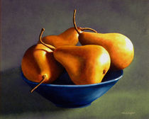 Blue Bowl With Four Pears by Frank Wilson