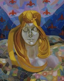 Born/after Mucha/30x24-oil on canvass von Antoaneta Hillman