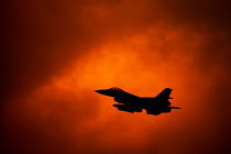 F-16 on orange sky by holka