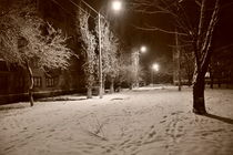 'Snowy Street at night b&w.' by Alexandr Verba