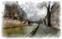 Notre Dame2 Aquarell  by Wessel Woortman