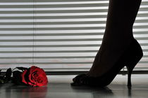 Woman's feet in high heeled shoes by blinds by Sami Sarkis Photography