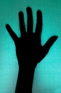 Silhouette of hand touching green texture by Sami Sarkis Photography