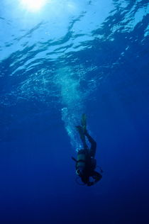 Scuba diver moving down in the blue water by Sami Sarkis Photography