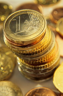 Stack Of Euros Coins by Sami Sarkis Photography