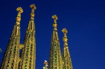 Spires of the Sagrada Familia cathedral at dusk by Sami Sarkis Photography