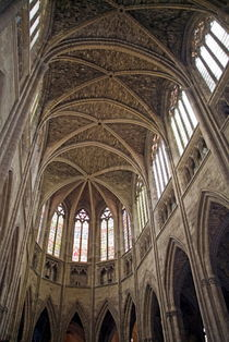 Vaulted ceilings and stained glass windows of Saint Andre Cathedral by Sami Sarkis Photography