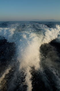 Foamy wake of a motor boat in the Mediterranean Sea by Sami Sarkis Photography