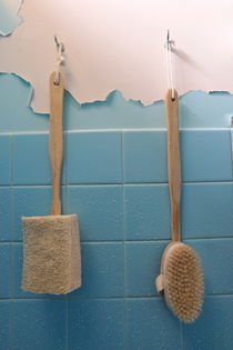 Brushes on wet peeling paint wall by Sami Sarkis Photography