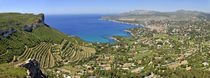 Cassis village with vineyards on Mediterranean coast by Sami Sarkis Photography