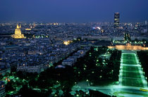 City buildings as seen from the Eiffel Tower at night including the Montparnasse Tower by Sami Sarkis Photography