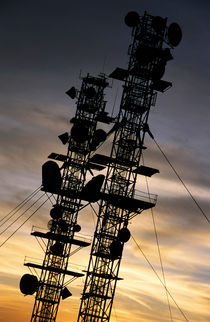 Communications tower at sunset. by Sami Sarkis Photography
