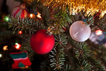 Ornaments hanging from a Christmas tree. by Sami Sarkis Photography