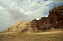 Sparse tussock and rock formations in the Wadi Rum desert von Sami Sarkis Photography