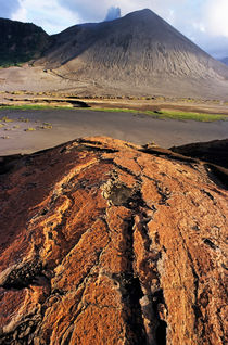 Pink sand on an ash plain in front of Mount Yasur von Sami Sarkis Photography