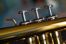 Three musical keys on a shiny trumpet. von Sami Sarkis Photography