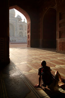 Tourist Photographing Taj Mahal by serenityphotography