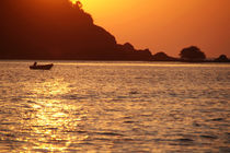 Boat at Sunset Palolem by serenityphotography
