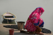 Woman in Pink Sari by Ganges by serenityphotography