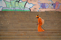 Sadhu Walking on Varanasi Ghats by serenityphotography