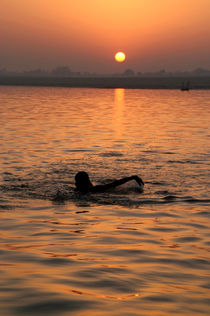 Swimming in the Ganges at Sunrise by serenityphotography