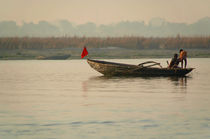 Fishing Boat with Red Flag by serenityphotography