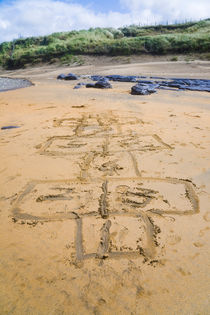 Hopscotch game drawn on the beach of Fanore, County Clare, Ireland. by kbhsphoto
