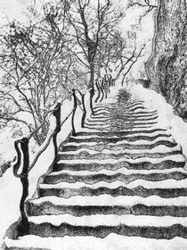 The snowy stairs by Odon Czintos