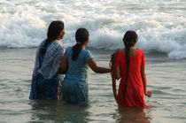 Indian Women in the Sea at Varkala by serenityphotography
