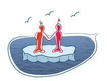 Two standing on a flake of ice, holding hands. von Sofia Wrangsjö