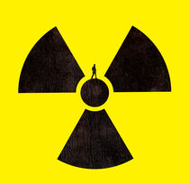 A man standing on a radioactive symbol by Sofia Wrangsjö