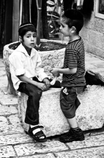Conversation of two small Jewish boys, Israel by yulia-dubovikova
